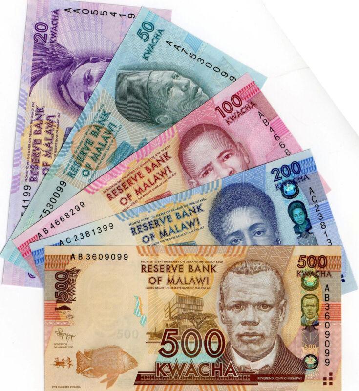 MALAWI Africa 5 UNC pcs 20,50,100,200,500 Kwacha 2012