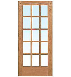 15 lite red oak clear tempred glass stain grade solid for 15 lite glass door