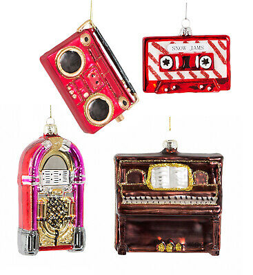 Music Christmas Tree Decoration Bauble Cassette Tape Jukebox Piano Boombox Xmas ()