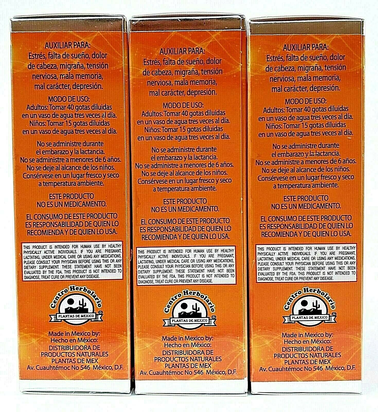 3 Packs ME VALE MADRE DROPS 60 ml each SUPPORT FOR STRESS ANXIETY 4