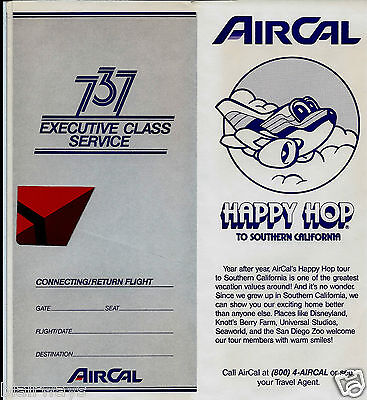 Air Cal 737 Executive Class Service Ticket Jacket Happy Hop 1986