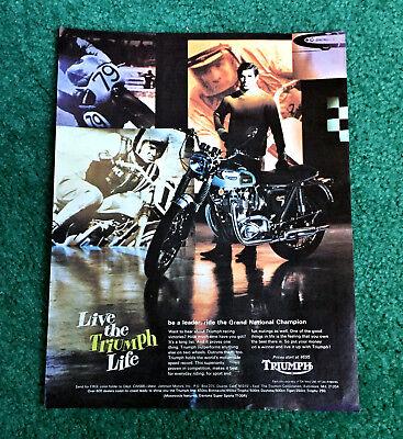 ORIG 1968 TRIUMPH MOTORCYCLE MAGAZINE AD DAYTONA T100R 500 GARY NIXON POSTER?