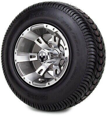 "10"" Ambush Gunmetal Golf Cart Wheels and Tires (205-65-10) - Set of 4"