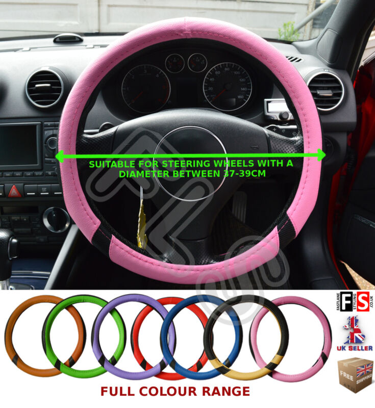 UNIVERSAL BLACK & PINK 37-39CM STEERING WHEEL COVER FAUX LEATHER–Lexus