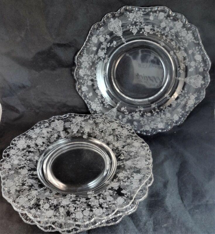 "Rose Point Cambridge Clear 8 3/8"" Salad Plates (Set 4) Shape 3500 Etched Fluted"
