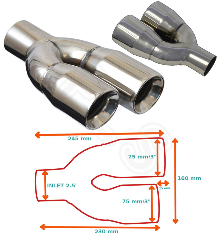 UNIVERSAL STAINLESS STEEL EXHAUST TAILPIPE PAIR 2.5