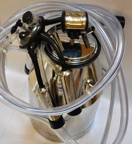 Bucket Milker Station:Cow Milk Machine:SS Tank 25L+Pulsator+Claw Cluster+Hoses+