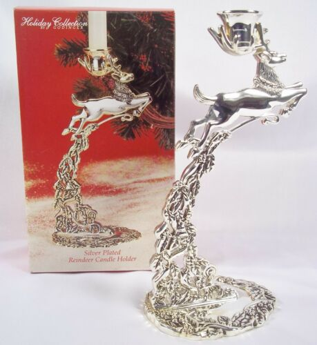Silver Plated Reindeer Candle Holder Holiday Collection by Godinger