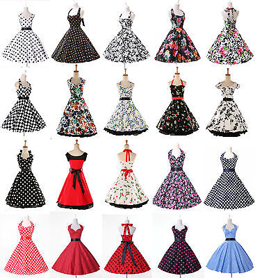 RETRO FLORAL 50s 60s PINUP ROCKABILLY SWING PROM ROCK Cocktaill Evening Dress