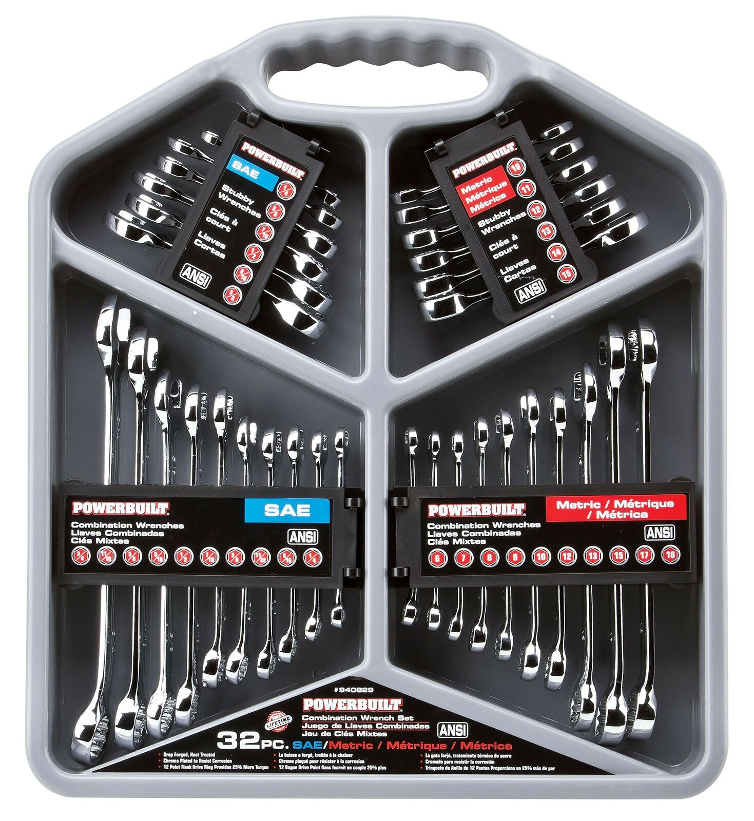 Powerbuilt Combination Wrench Set 940829 Mirror Polish – SAE & Metric – 32 Piece Business & Industrial