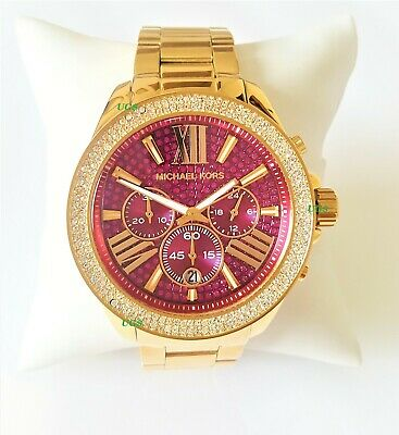Michael Kors  Watch Womens Everest Chrono Red Dial Gold Band MK6290 Genuine