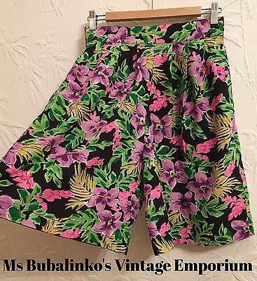 Vintage 90s High Waist Culottes Shorts Black Flower Pattern Size 12 14
