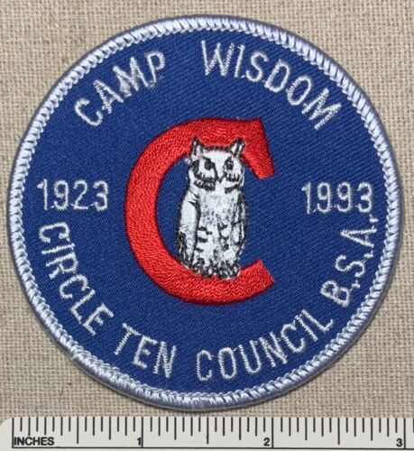 1923-1993 CAMP WISDOM 70th Anniversary Boy Scout PATCH Circle Ten Council TX 10
