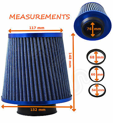 BLUE  FREE FLOW UNIVERSAL PERFORMANCE AIR FILTER & ADAPTERS 54-76MM-BMW2