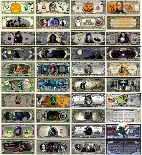 Halloween Monsters Set of 20 Million Dollar Funny Money Notes with FREE SLEEVES