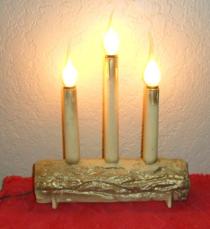 1950s MID CENTURY CHRISTMAS HOLIDAY CANDELABRA CANDLE YULE LOG DECORATION LIGHTS