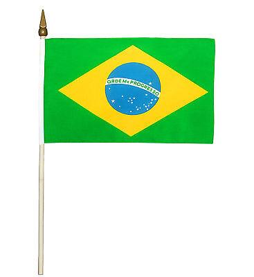 5 x Stockflagge Brasilien 30 x 45 cm Flagge Nationalflagge Stockfahne
