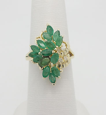 VINTAGE 2CT EMERALD & DIAMOND COCKTAIL RING 14K YELLOW GOLD