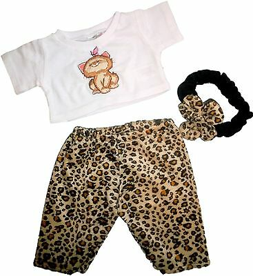 Leopard Teddies (Teddy Bear Clothes fits Build a Bear Leopard Trousers Cat Top Bow Teddies Outfit)