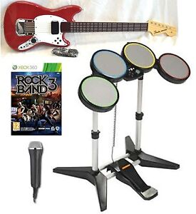 NEW XBox 360 ROCK BAND 3 Game w/Mustang Guitar/Drums/Mic Instruments Bundle Set