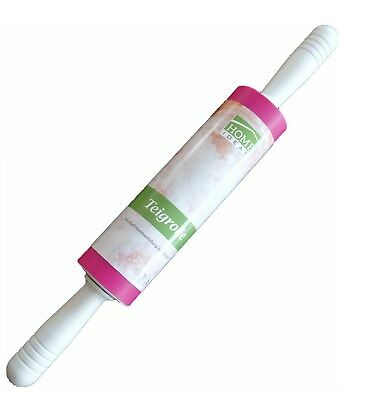 Teigroller Nudelholz Silikon Teigausroller 46,5 cm Gesamtlänge Pink NEU