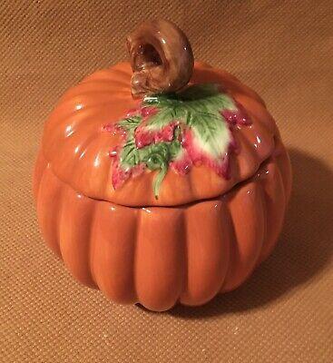 "Vintage FTD Ceramic Lidded Cookie Jar Pumpkin Fall 7"""