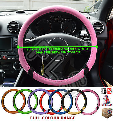 UNIVERSAL BLACK & PINK 37-39CM STEERING WHEEL COVER FAUX LEATHER–Citroën 1