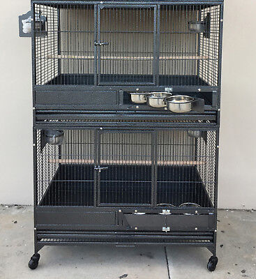 "NEW 54"" LARGE Double Stackers Breeding Breeder Bird Parrot Wrought Iron Cage 150"