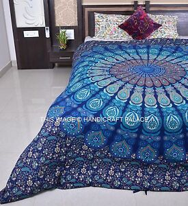 bleu mandala housse de couette reine indienne jet lit en coton doona d cor. Black Bedroom Furniture Sets. Home Design Ideas