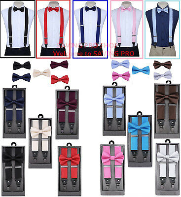 Ties And Suspenders (SUSPENDERS and BOW TIE COMBO SET-Tuxedo Classic Wedding Costume Tux)