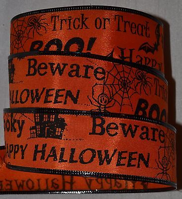 Wired Ribbon~Orange~Halloween Sayings~Trick or - Halloween Treat Sayings