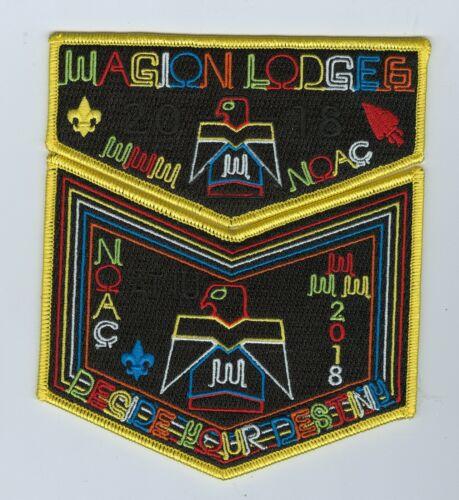 MINT Boy Scout OA Lodge 6 (Wagion) 2018 NOAC Yellow Border 2-Piece Flap Set