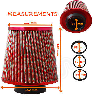 UNIVERSAL RED  UNIVERSAL PERFORMANCE FLOW AIR FILTER & ADAPTERS - Ford 1