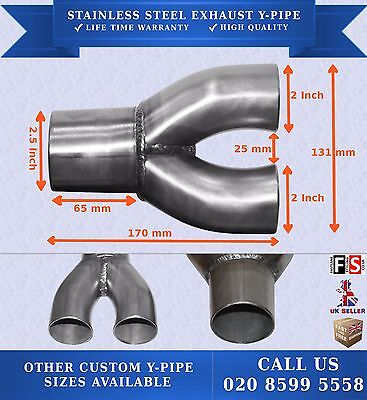STAINLESS STEEL EXHAUST Y-PIPE PIECE ADAPTER SINGLE INLET 2.5 INCH  DUAL 2 INCH