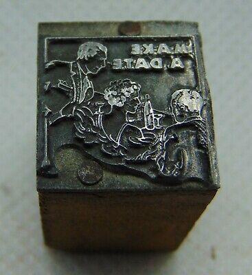 Vintage Printing Letterpress Printers Block Make A Date
