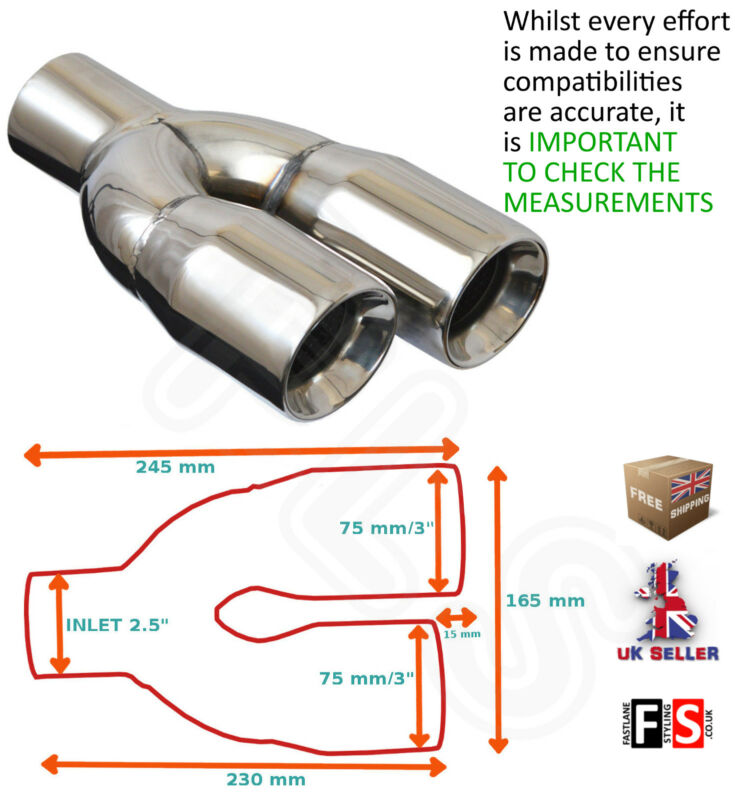 UNIVERSAL STAINLESS EXHAUST TAILPIPE 2.5