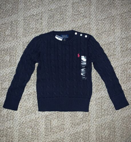 NWT $55 Toddler Girls POLO RALPH LAUREN Navy Cable Knit Crewneck Sweater 4T NEW!