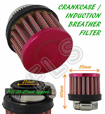 UNIVERSAL OIL MINI BREATHER AIR FILTER - FUEL CRANKCASE ENGINE CAR - 25MM - RED