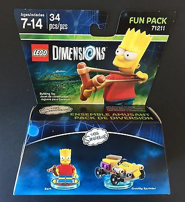 LEGO Dimensions The Simpsons 34 pcs Bart & Gravity Sprinter Fun Pack 71211 NIB