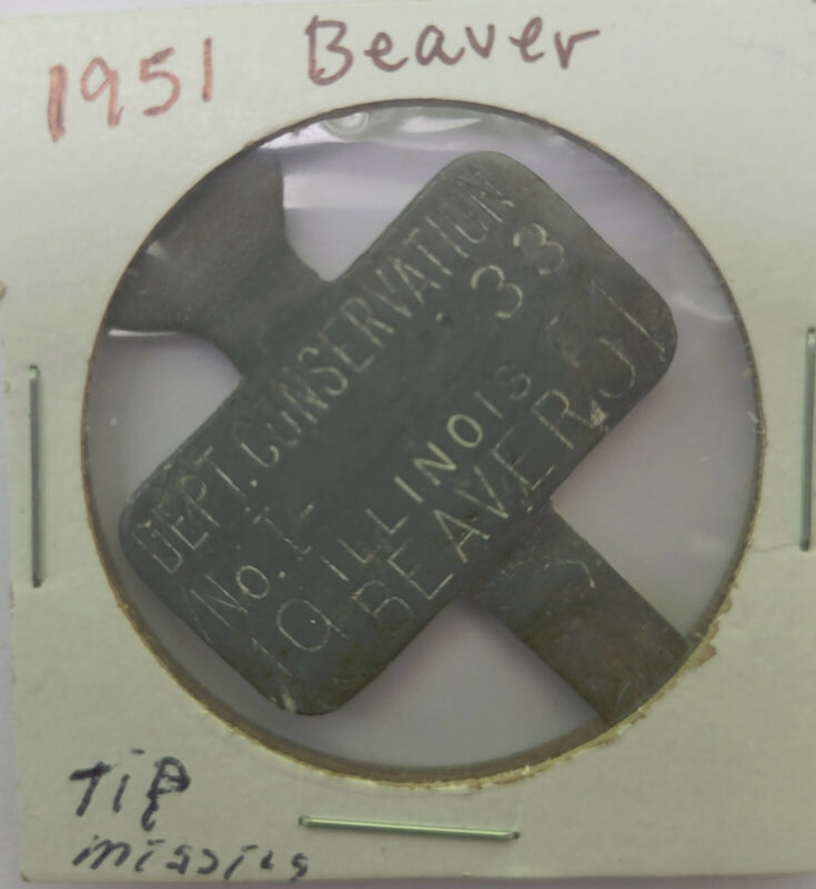 1951 IL Beaver Trap Tag Trapping
