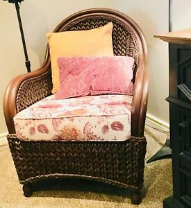 2 pier-one-imports-brown-wicker-arm-chairs