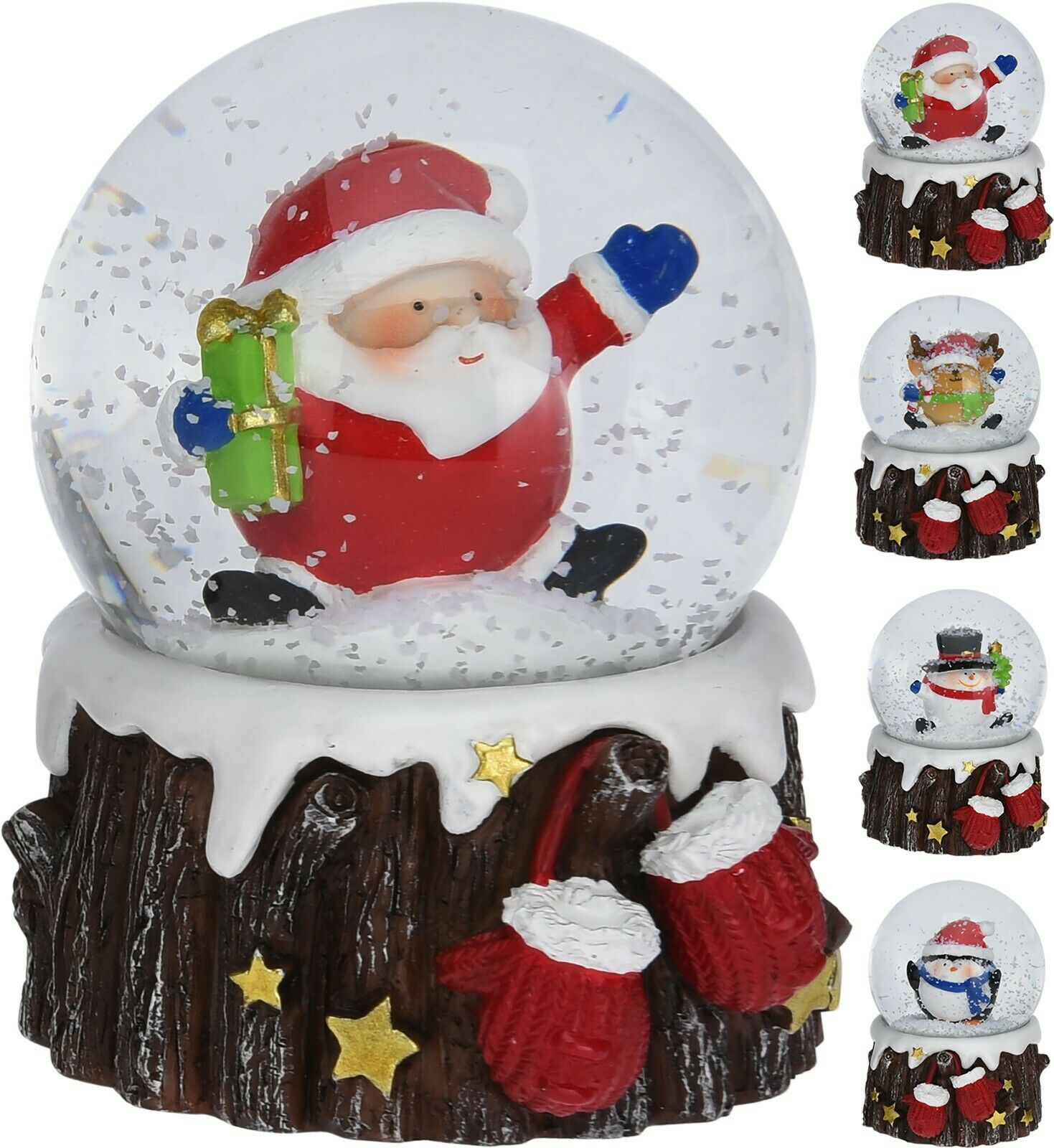 Christmas Snow Globe Xmas Decoration Santa Snowman Reindeer On Tree Trunk Gift Ebay