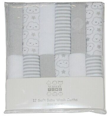 Baby Girl Boy Wash Cloths Towel Flannel Wipes Pack of 12 White Grey