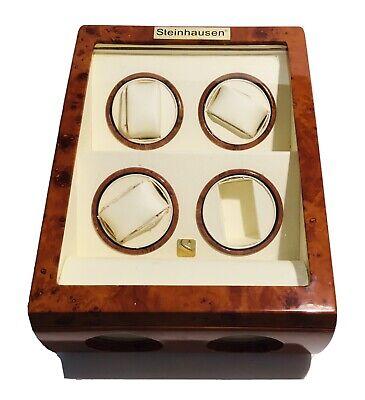 Steinhausen Quad 4 + 2 Watch Winder Display/Storage Case Burl Wood  (5E3.31.JK)
