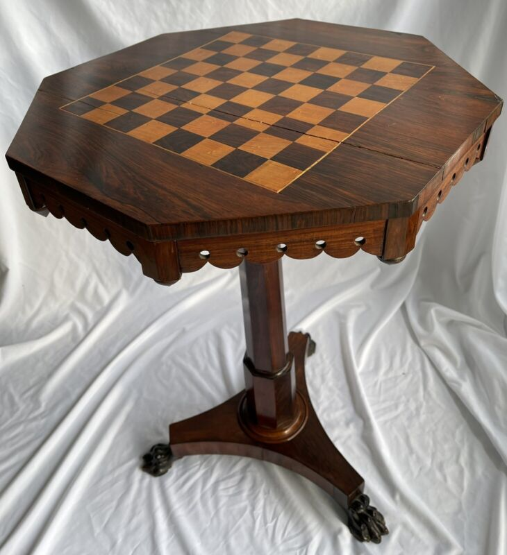 English Regency Carved Rosewood Antique Chess Game Table, circa 1820