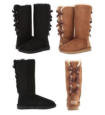 NEW Authentic UGG Women's Bailey Bow II Tall Winter Boots Shoes Black Chestnut  Authentic Ugg Boots