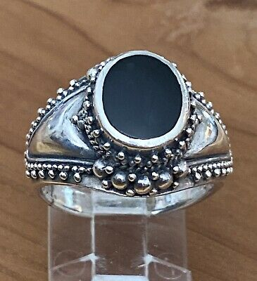 and Marcasite Ring Perfect condition size 5 Onyx Vintage Victorian Sterling Silver