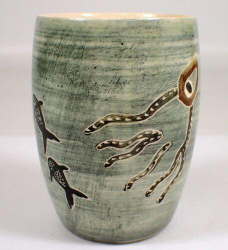 ESSEXWARE Vtg Australian Pottery Aboriginal Art SHARK Octopus RARE Cup Vase