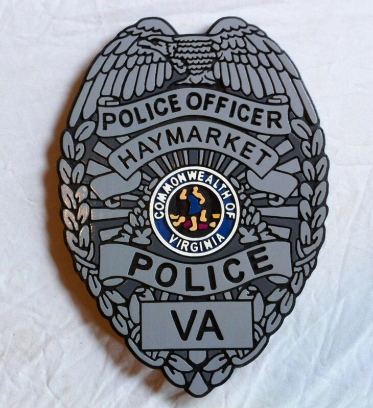 Police  Haymarket Virginia badge Sign 3D routed carved wood plaque Custom Carved