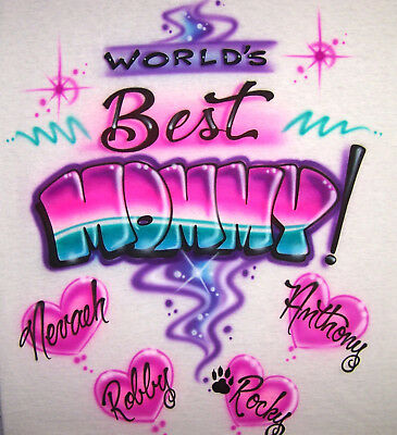 Worlds Best Mom Personalized T-Shirt GREAT Gift Idea Airbrushed with Any Names  - Worlds Best Mom